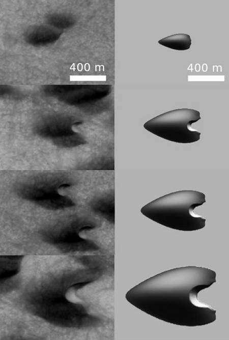 A gauche les barkhanes martiennes, à droite les simulations numériques Crédit : Eric Parteli