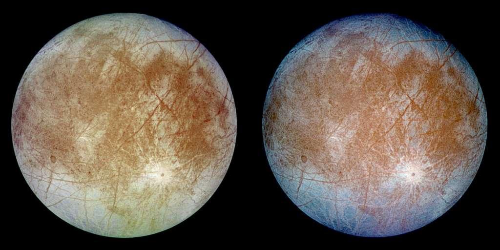 L'étude d'Europe (ici à l'image) et de Ganymède doit fournir de nouvelles informations sur le système jovien et aider à comprendre si la vie peut s'établir dans le Système solaire ailleurs que sur la Terre. © Nasa