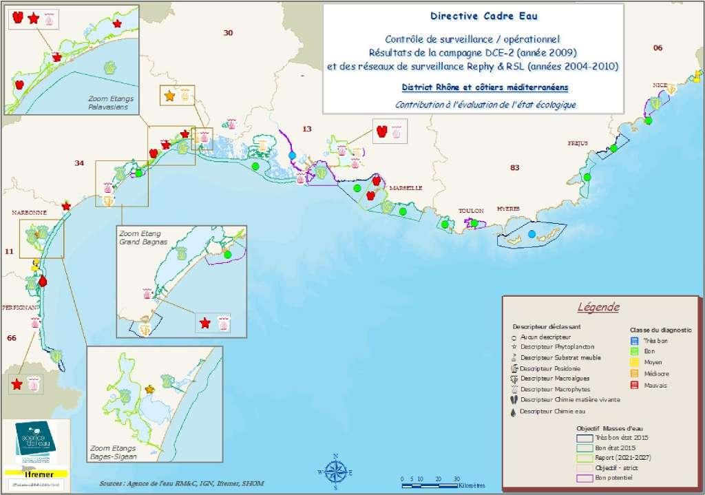 Évaluation de l'état écologique de la façade méditerranéenne reprenant l'élément ou les éléments responsable(s) du déclassement des masses d'eau concernées. Un rond signifie que la masse d'eau n'a pas été déclassée. Les autres formes indiquent quel(s) descripteur(s) a/ont causé une dégradation du niveau de qualité des masses d'eau concernées (voir la légende des couleurs). Ces résultats sont issus de la campagne de surveillance de la Méditerranée de 2009. © Ifremer
