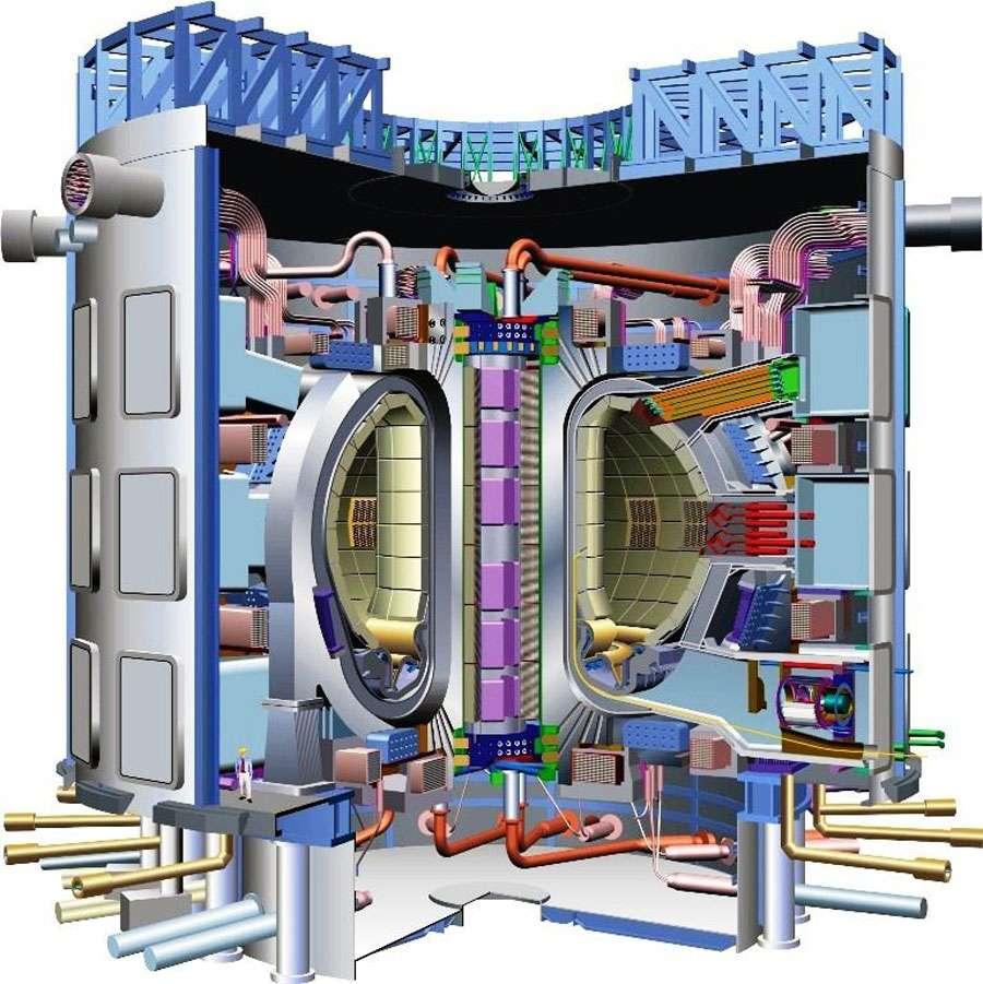 Schéma d'Iter, le réacteur international de fusion en cours de construction près de Cadarache, dans le sud de la France. Notez le personnage en bas à gauche, qui donne une idée de la taille de la machine. © CEA