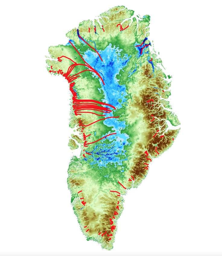 Sur la côte nord-ouest du Groenland, la fonte des glaciers «en pente douce» pourrait entraîner un amincissement de la calotte jusqu'à 250 kilomètres à l'intérieur des terres. © Denis Felikson, Goddard Space Flight Center, Nasa