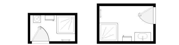 Pour optimiser l'espace, choisissez un meuble lave-mains droit ou d'angle et des meubles de faible profondeur. Un receveur de douche 70 x 70 cm est un minimum, préférez un modèle de 80 x 80 cm positionné à l'opposé de l'accès à la salle d'eau. © Lapeyre