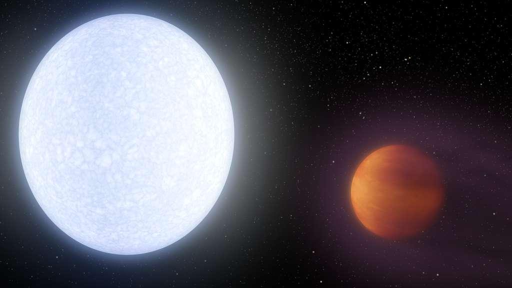 À gauche, l'étoile Kelt-9. À droite, Kelt-9b, la géante gazeuse la plus chaude jamais découverte. © Nasa, JPL-Caltech