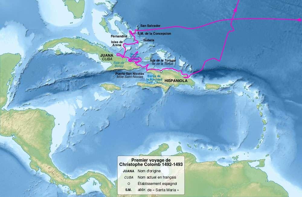 Carte du premier voyage de Christophe Colomb, de 1492 à 1493. © Sémhur, CC by-sa 3.0