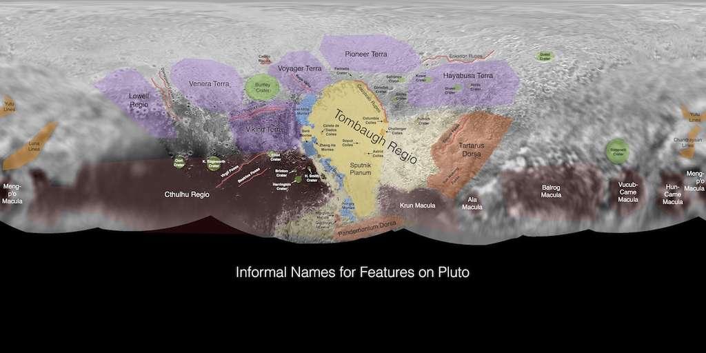 Vue d'ensemble de Pluton. Les noms choisis par le public ont été superposés à la carte (cliquez sur l'image pour l'agrandir). © Nasa, JHUAPL, SwRI