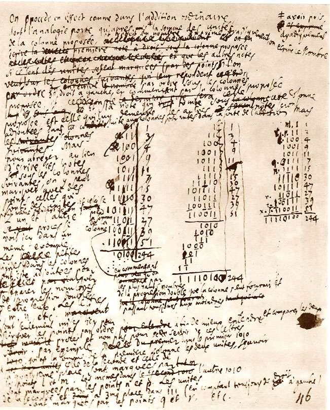 Manuscrit inédit de Leibniz, bibliothèque provinciale de Hanovre. Leibniz voyait dans les rotules de la combinatoire plutôt que de la magie. Il est l'inventeur du code binaire, le langage universel des ordinateurs. © Dunod