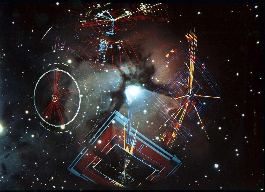 Cette image montre les résultats sur ordinateur de collisions entre les particules fondamentales – des électrons et des positrons – dans les 4 détecteurs de particules du Lep du Cern, superposés sur un fond d'étoiles. Le Lep occupait le tunnel de 27 km de long dans lequel se trouve aujourd'hui le LHC. © Patrice Loïez, Cern
