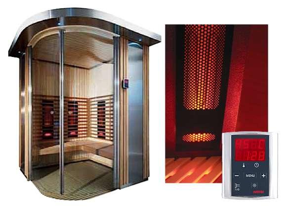 Si le sauna infrarouge peut prendre des formes classiques, cette technologie stimule tout particulièrement la créativité des designers. Deux principaux types d'éléments chauffants sont utilisés : carbone ou céramique. Les premiers semblent couvrir de plus larges surfaces corporelles, ce qui accroît leur efficacité. Modèle présenté : structure en épicéa et inox, aménagements intérieurs en abachi et peuplier traité spécifiquement à la chaleur. Chauffage par 6 à 8 éléments tubulaires au carbone de 435 W chacun. 3 versions proposées. Ref. Rondium © harviasauna.com