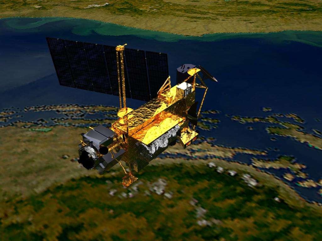 Vue d'artiste du satellite UARS (Upper Atmosphere Research Satellite), un engin de 6 tonnes qui a permis de mieux comprendre la stratosphère. © Nasa