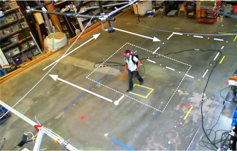 Sur cette photo, on voit comment la personne équipée du casque à réalité augmentée évolue dans un espace réduit, en suivant un parcours circulaire matérialisé par les flèches blanches. Mais sous le casque, elle navigue dans une succession de couloirs et de pièces (schématisées par les rectangles en pointillés). Ces espaces fictifs sont générés à la volée et de façon aléatoire par l'algorithme Flexible Spaces, et donnent l'impression de se déplacer dans un environnement sans limites. © Université technique de Vienne