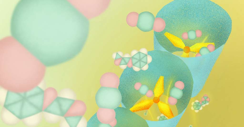 Les polymères de coordination poreux (PCP) fonctionnent comme des tamis moléculaires. Ils sont ainsi capables de reconnaître les molécules selon leur forme et leur taille. Et celui conçu par les chercheurs de l'université de Kyoto (Japon) capture le CO2 de manière sélective grâce à sa structure en hélice. © Mindy Takamiya, Université de Kyoto