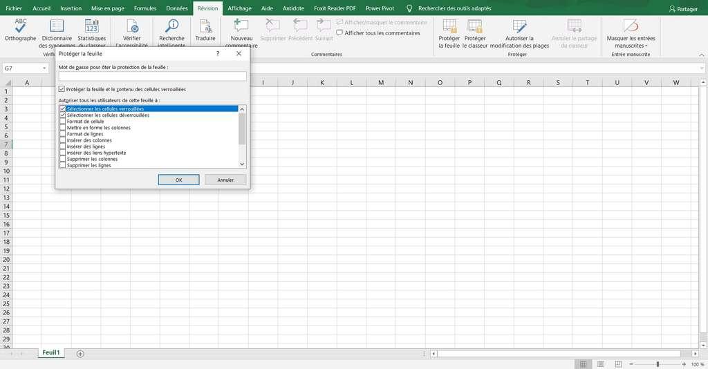 Le fichier Excel n'est plus protégé, on peut même définir un nouveau mot de passe © Microsoft