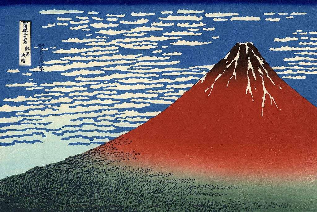 Le Fuji par temps clair (aussi appelé Le Fuji rouge) peint par Hokusa. © Domaine public