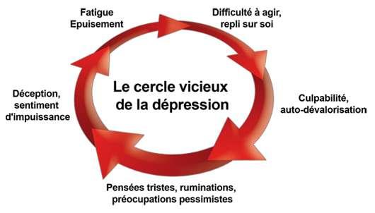 Les symptômes de la dépression sont multiples. La dépression est souvent décrite comme un cercle vicieux car un symptôme en entraîne un autre et il est souvent difficile de s'en sortir sans une aide extérieure. © Laboratoires Lilly