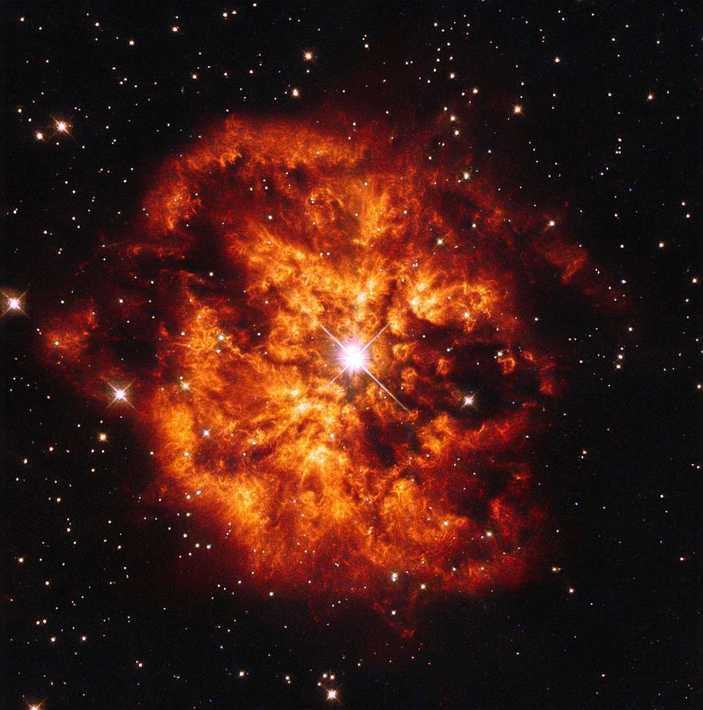 La nébuleuse M1-67 autour de l'étoile Hen 2-427, plus communément appelée WR 124 car c'est une étoile de Wolf-Rayet, vue par le télescope Hubble dans la constellation du Sagittaire. Elle n'aurait pas plus de 10.000 ans et serait située à 15.000 années-lumière du Soleil. © Esa, Judy Schmidt
