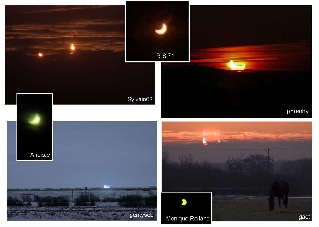 Quelques images du croissant solaire qu'on pouvait observer à l'aube du 4 janvier envoyées par les internautes à Futura-Sciences. © D.R.