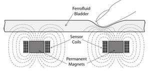 (Cliquer pour agrandir.) Schéma du système embarquant une poche de ferrofluide. © Microsoft