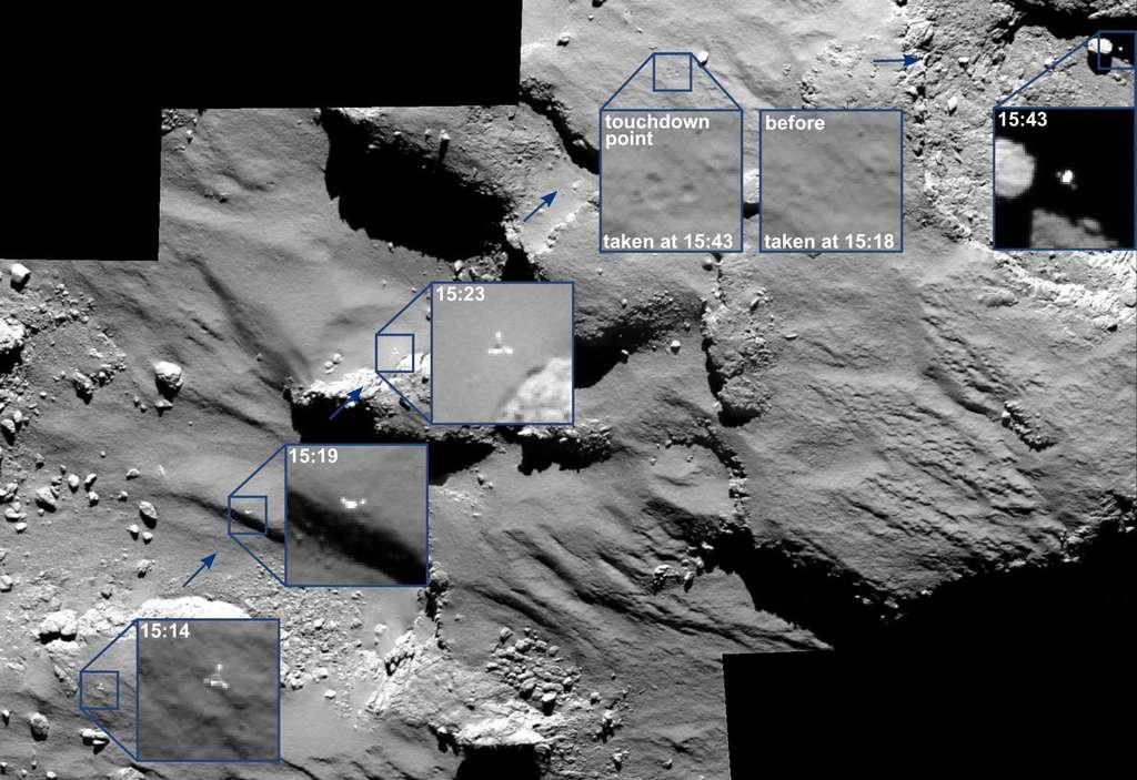 Philae avant et après le premier contact (touchdown) à 15 h 35 TU, le 12 novembre 2014. La sonde Rosetta était alors à 17 km du centre de la comète Tchouri. Les instruments scientifiques à bord de l'atterrisseur ont permis de reconstituer la trajectoire (avec ses deux rebonds et le posé final) visualisée ici sur les images de la caméra Osiris, installée sur la sonde Rosetta. © Esa, Rosetta, MPS for Osiris Team MPS, UPD, LAM, IAA, SSO, INTA, UPM, DASP, IDA