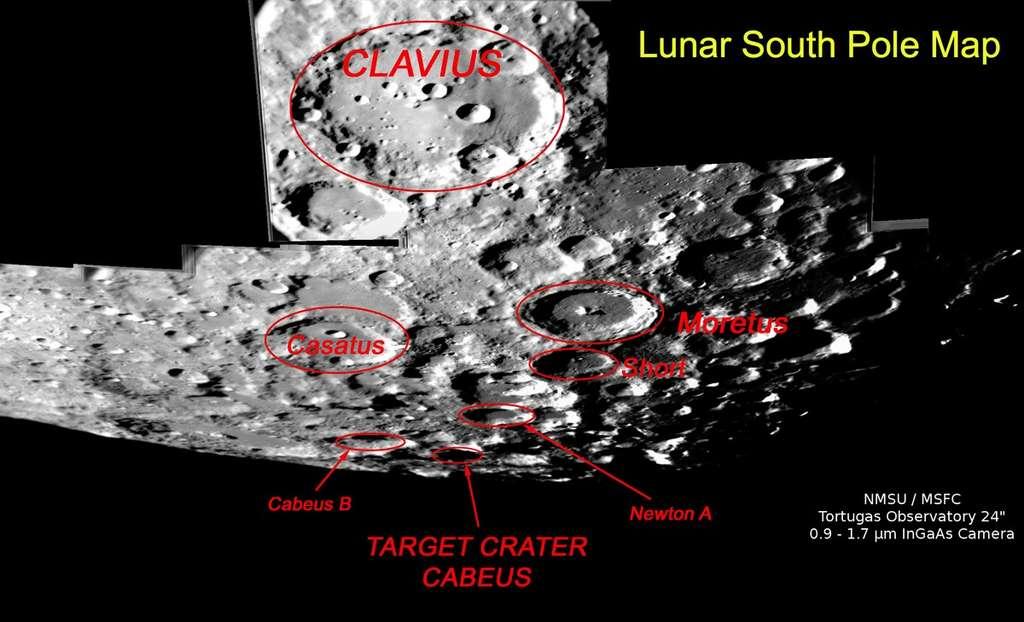 Situé à 100 kilomètres du pôle Sud lunaire, le cratère Cabeus avait été choisi en 2009 pour y précipiter la sonde LCross. © NMSU/MSFC Tortugas Observatory