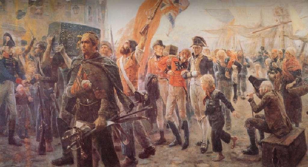 """""""Le retour des corsaires - 1806"""", par Maurice Orange, fin XIXe siècle. Musée du Vieux Granville, Granville, Normandie. © Wikimedia Commons, domaine public."""