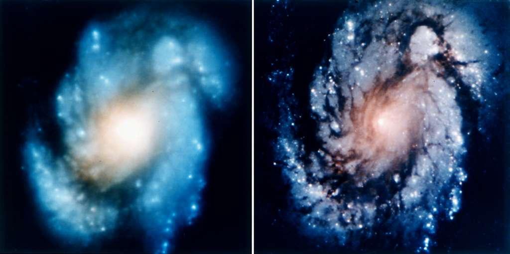 L'image de gauche de la galaxie M100 a été prise quelques jours avant la mission de sauvetage. L'image de droite de la même galaxie a été prise après. © Nasa