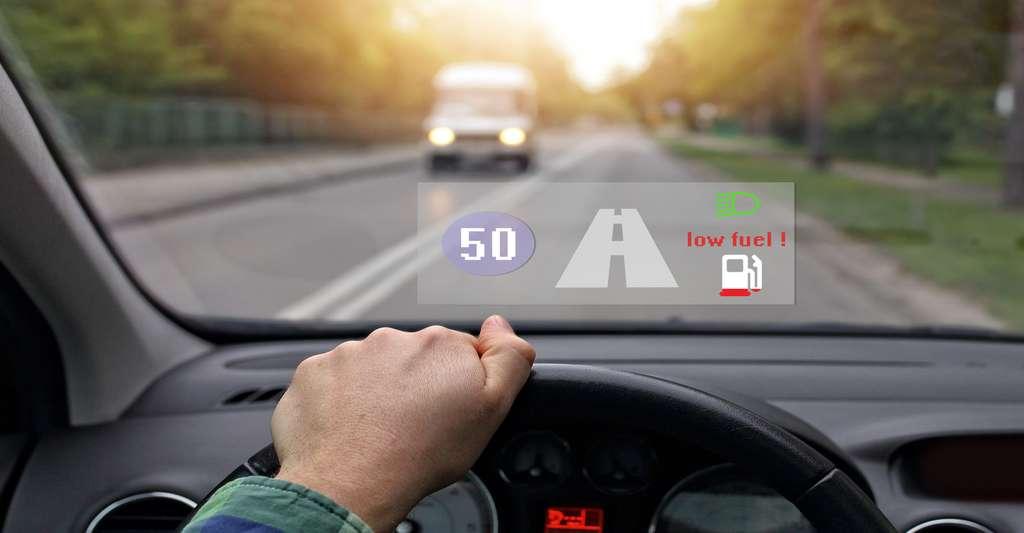 Voiture équipée d'un système montrant la jauge à essence et la vitesse. © Ambrozinio, Shutterstock