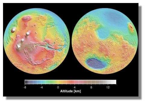 Topographie de Mars. Crédits : Nasa