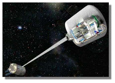 Proposition d'expérimentation, près de la Station Spatiale, du dispositif de gravité artificielle centrifuge, menée sur un prototype du futur module d'habitation martien. Crédits : Delta-Utec SRC, PaysBas