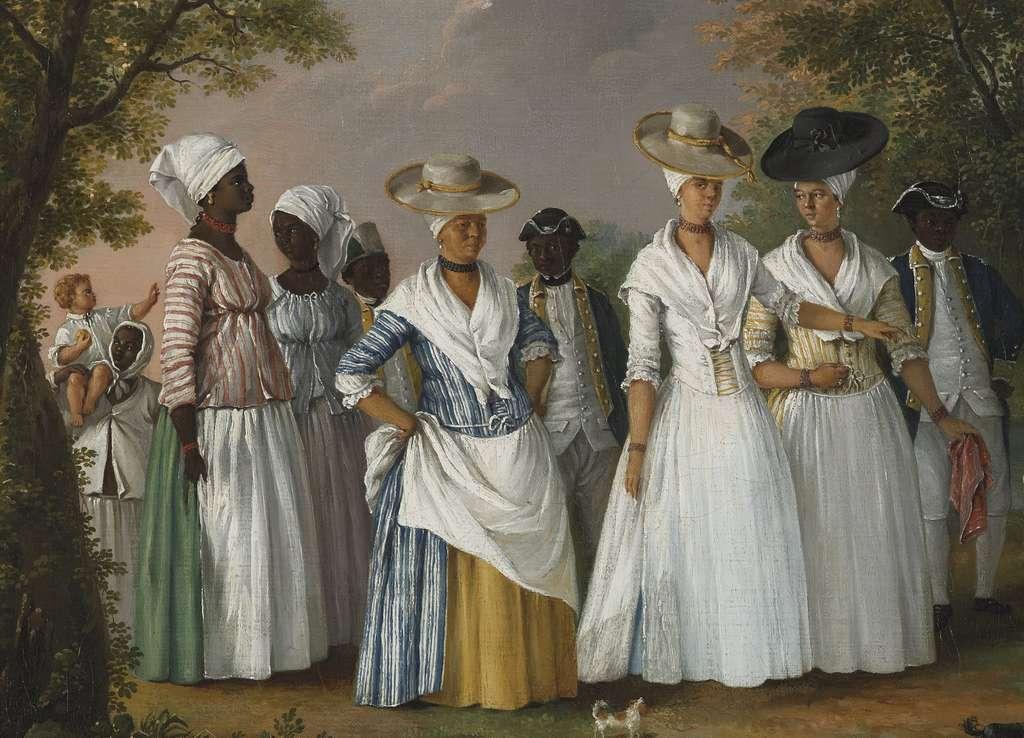 """Tableau """"Femmes de couleur libres avec leurs enfants et leurs servantes"""", par Agostino Brunias vers 1780-1790. Brooklyn Museum, New York. © Wikimedia Commons, domaine public."""