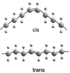 La différence entre un acide gras cis et un acide gras trans ne tient qu'à la forme de la molécule, articulée dans un sens ou dans l'autre au niveau d'une double liaison entre deux atomes carbone (une liaison caractéristique d'un acide gras insaturé). © Lawrence Chasin/Deborah Mowshowitz/Department of Biological Sciences/ Columbia University