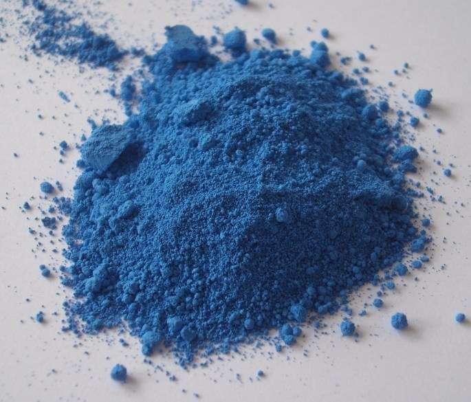 Le cobalt est notamment utilisé pour la fabrication de pigments colorés bleutés (par exemple pour le bleu de cobalt), mais il est blanc argenté lors de son extraction. © FK1954, Wikimedia common, DP
