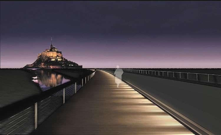Pont-passerelle du Mont-Saint-Michel la nuit