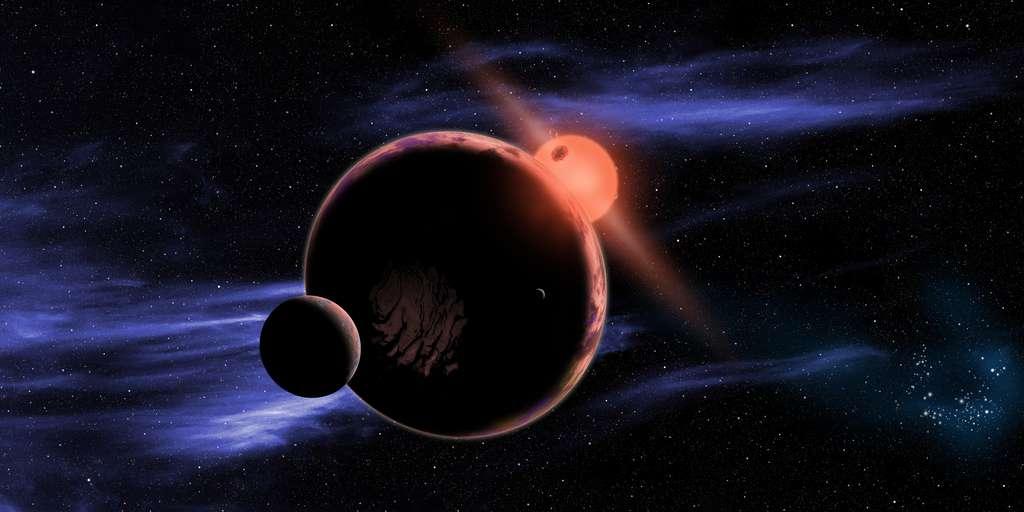 Une vue d'artiste d'une exoplanète avec une lune en orbite autour d'une naine rouge. Ces étoiles vivant plus longtemps que notre Soleil, elles pourraient abriter des civilisations âgées de plusieurs milliards d'années déjà. © David A. Aguilar, CfA