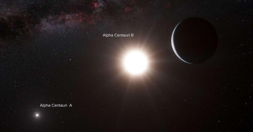 Cette vue d'artiste montre la planète en orbite autour de l'étoile Alpha du Centaure B, un membre du système d'étoiles triple le plus proche de la Terre. Alpha du Centaure B est l'objet le plus brillant dans le ciel et l'autre objet éblouissant est Alpha du Centaure A. Notre propre Soleil est visible en haut à droite. Le faible signal de la planète a été détecté par le spectrographe Harps sur le télescope de 3,6 mètres. © ESO/L. Calçada/N. Risinge, CC by-nc