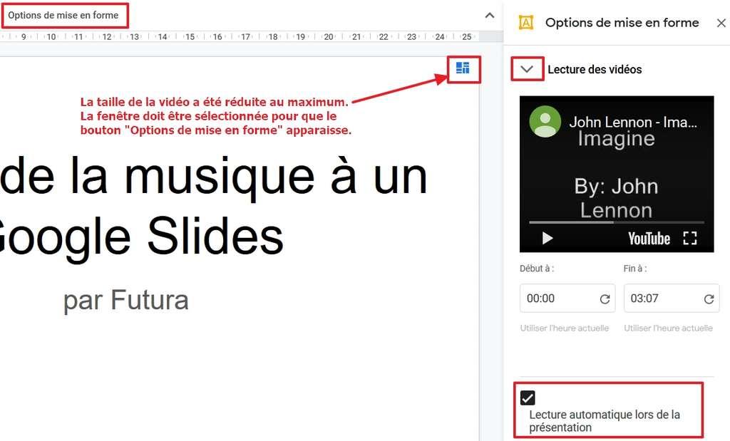 Réduisez la taille de la fenêtre du clip vidéo, activez la lecture automatique lors de la présentation et définissez un passage particulier du morceau si vous le souhaitez. © Google Inc.