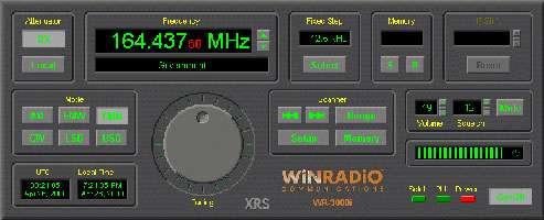 L'interface graphique de la carte WinRADIO WR-3000i DSP (150 kHz-1 GHz) est un exemple typique d'un logiciel DRM fonctionnant sur un ordinateur.
