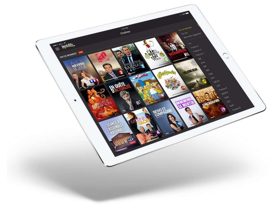 Diffusée par Internet, Molotov TV est accessible depuis des smartphones et tablettes iOS, l'Apple TV, Windows et Mac OS, et prochainement sur Android et les téléviseurs connectés des marques LG et Samsung. © Molotov