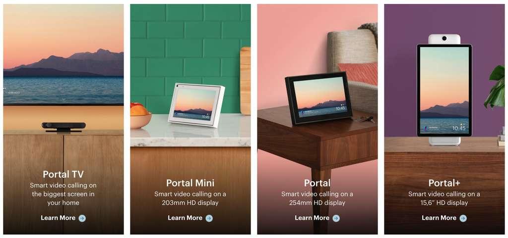 La gamme des Portal que Facebook lance en France. © Facebook