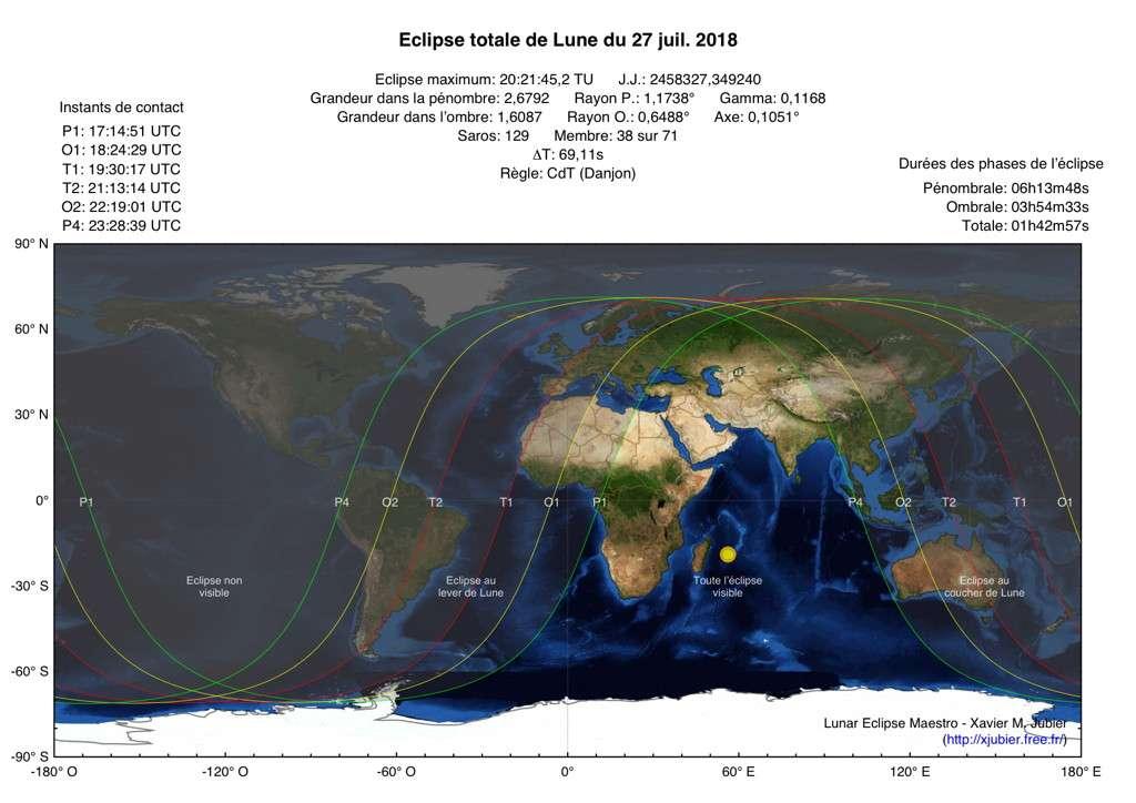 Carte de la visibilité de l'éclipse totale de la Lune du 27 juillet 2018. © Xavier Jubier