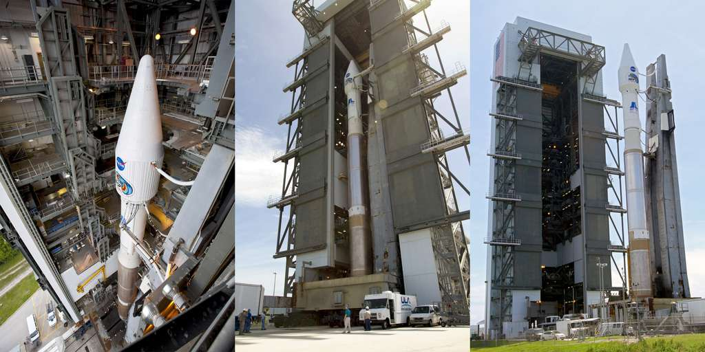 Le lanceur Atlas V, avec les deux satellites de RBSP, sort de son bâtiment d'assemblage, le Vertical Integration Facility. © Nasa