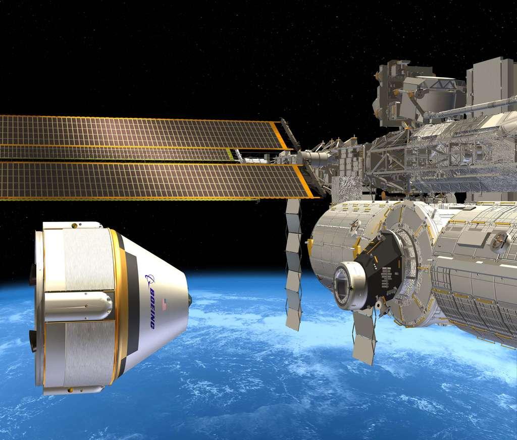 Le Starliner de Boeing en approche de la Station spatiale. © Boeing