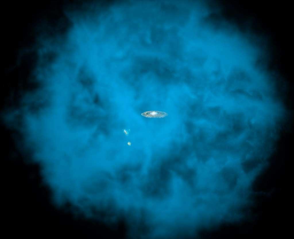 Une vue d'artiste de la Voie lactée et des deux galaxies naines que sont les nuages de Magellan plongés dans un halo plasma chaud à plusieurs millions de degrés et qui rayonne dans le domaine des rayons X. © Nasa, CXC, M. Weiss, Ohio State, A. Gupta et al.