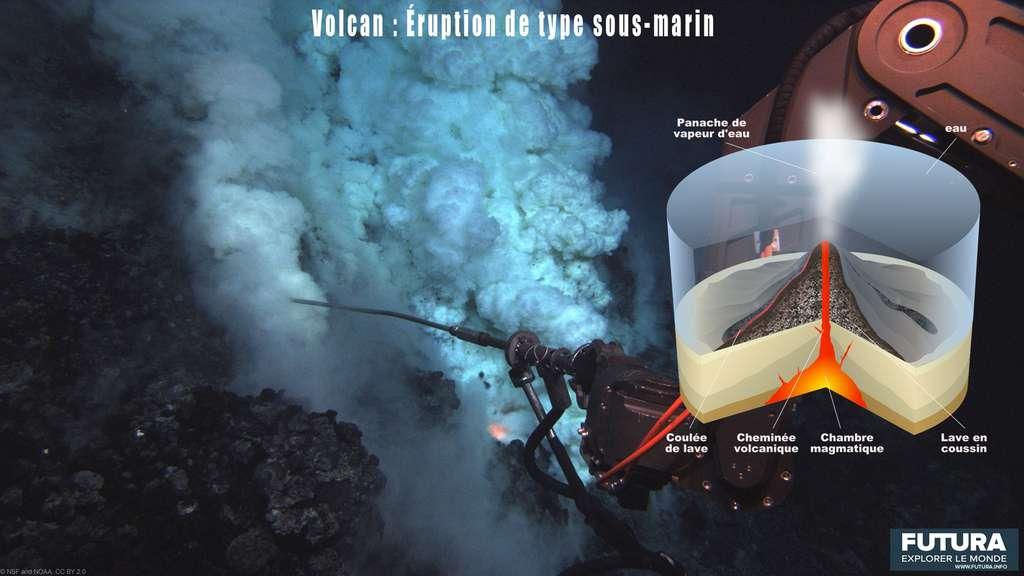 Les éruptions sous-marines se produisent souvent à des milliers de mètres sous la surface des océans. © Futura