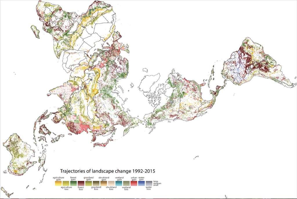 Sur cette carte établie par les géographes de l'université de Cincinnati (États-Unis), les changements de paysage intervenus entre 1992 et 2015. En blanc, les régions avec peu de changement. En plus foncé, celles ayant connu les changements les plus importants. © Tomasz Stepinski, Université de Cincinnati