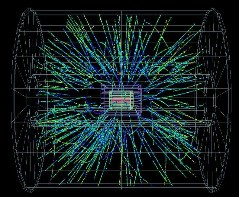 Le 13 septembre 2012, au Cern, des faisceaux de protons sont entrés en collision pour la première fois avec des faisceaux d'ions de plomb. On voit ici le résultat de ces collisions vu par l'un des détecteurs du LHC, Alice. © Cern