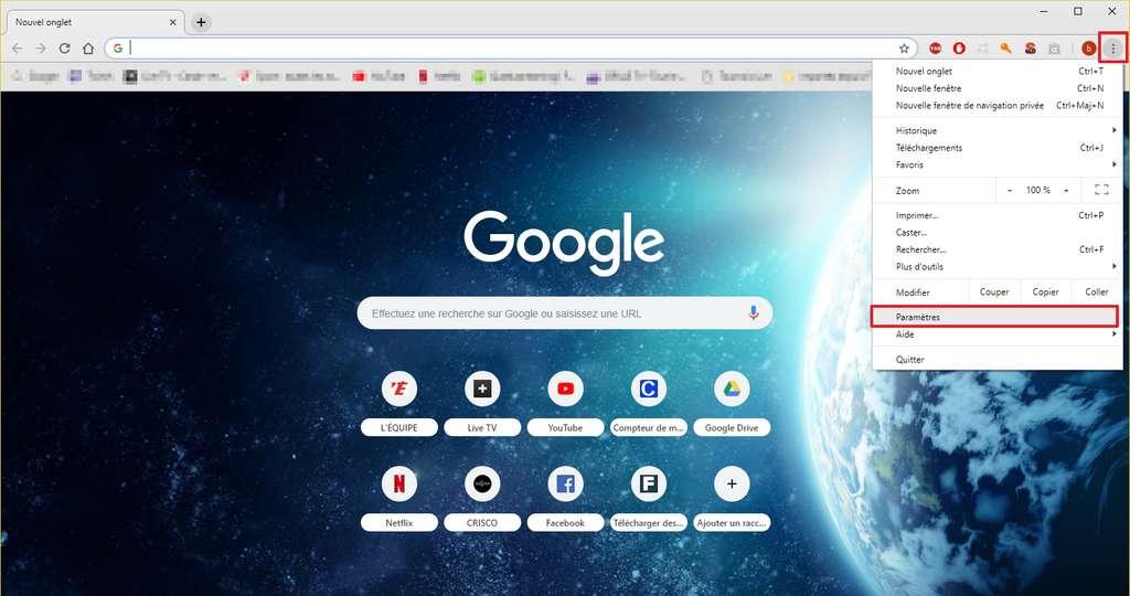 Cliquez sur l'icône «Personnaliser et contrôler Google Chrome» pour accéder aux paramètres. © Google