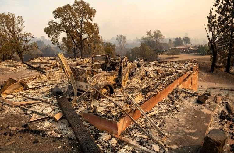 Maison détruite par le feu à Vacaville le 19 août 2020. © Josh Edelson AFP