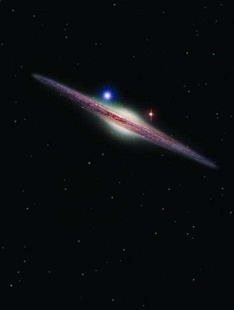 Représentation artistique de la source X, nommée HLX-1 (point lumineux bleu en haut à gauche du bulbe galactique). Elle est située dans la périphérie de la galaxie spirale ESO 243-49. HLX-1 est le candidat le plus solide détecté à ce jour, appartenant à la classe, si longtemps recherchée des trous noirs de masse intermédiaire. © Insu/Heidi Sagerud