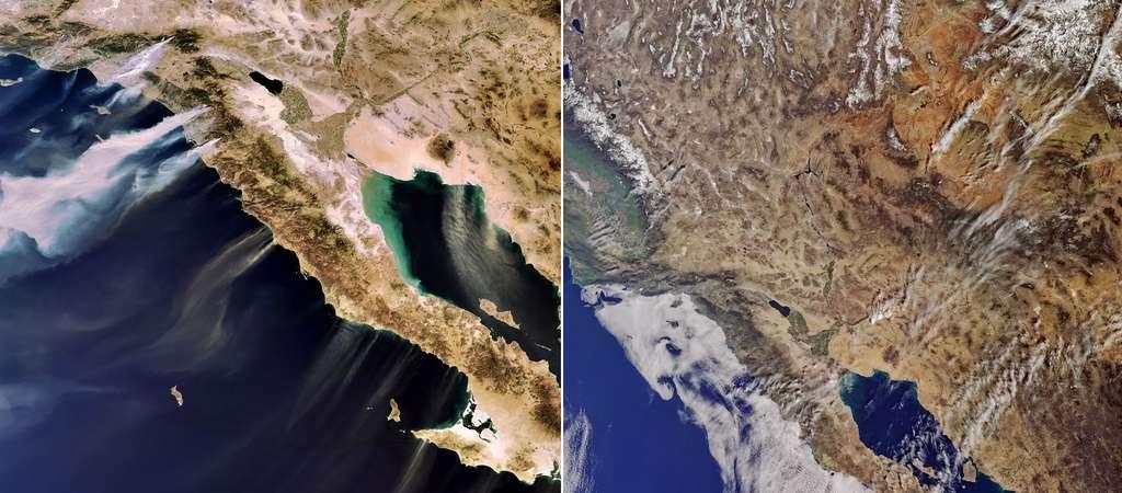 À droite, une des premières images acquises par Sentinel 3, à gauche par Meris, qui équipe Envisat, lors d'incendies. Il s'agit de la Californie vue par l'instrument OLCI, dédié à l'observation de couleur de la surface du Globe. Cet instrument permettra notamment de surveiller la qualité des eaux des océans ou des zones côtières ou alors l'état de la végétation sur les Terres émergées. Il est destiné à prolonger la décennie des données fournies par l'instrument Meris avec une résolution identique (300 mètres) mais une fauchée plus large (1.250 kilomètres). Une différence de fauchée qu'illustrent parfaitement ces deux clichés de la Californie. © Copernicus date (2016)