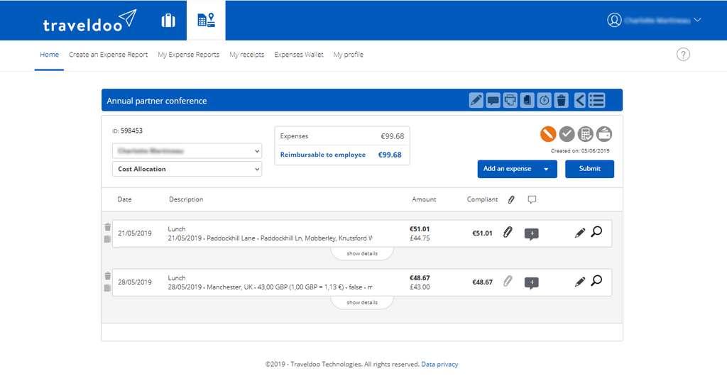 Sur la page d'accueil, Traveldoo affiche l'ensemble de vos notes de frais en cours de traitement et vous permet de les modifier. © Traveldoo